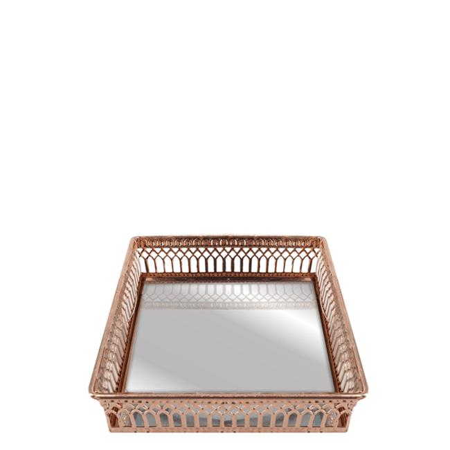 Bandeja Decorativa em Aço Inox Espelhada Quadrada - Cobre 12cm