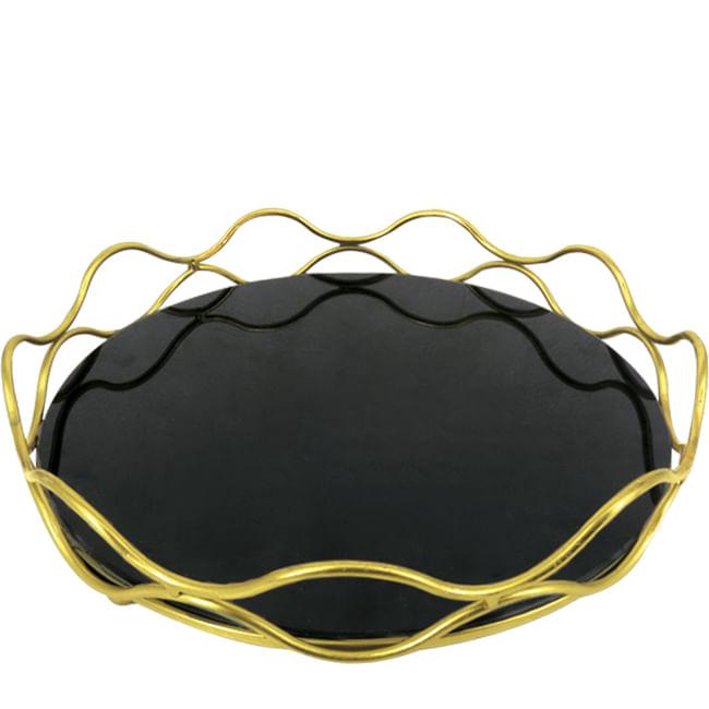Bandeja Decorativa em Aço Inox e Vidro Redonda - Dourado Envelhecido 35,5cm