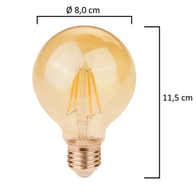 Lâmpada Retrô Bulbo - Filamento LED E-27 G80 (13 unidades)
