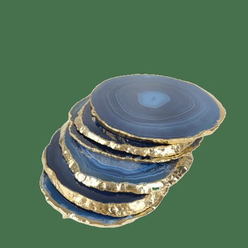 Chapas Decorativas de Ágata com Borda Dourada (6 unidades)