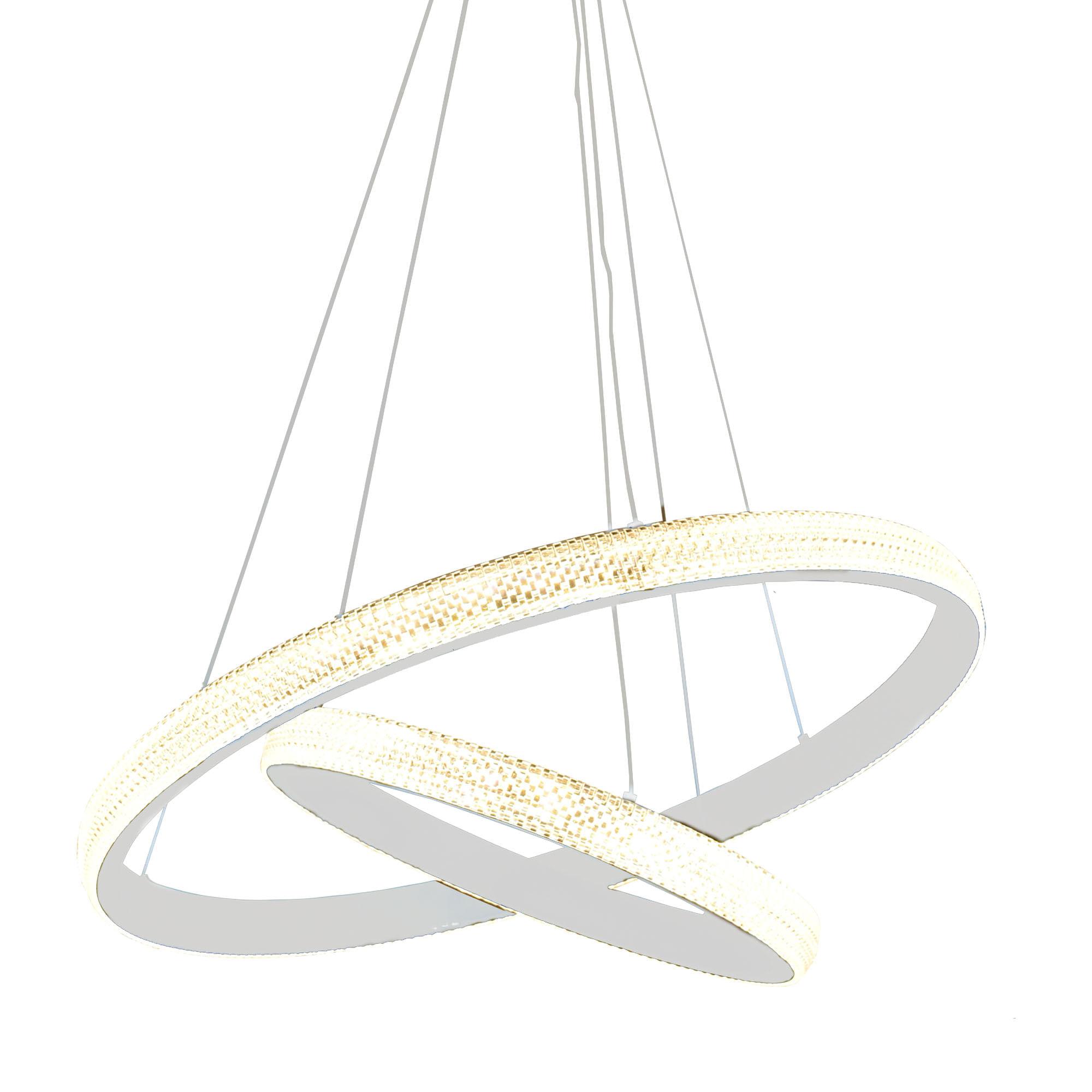 Lustre Pendente Branco LED Aliança 62W - Dois Anéis