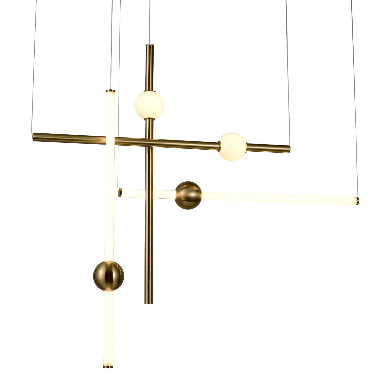 Conjunto Dois Pendentes LED Lineares com Bolinha - Branco e Bronze