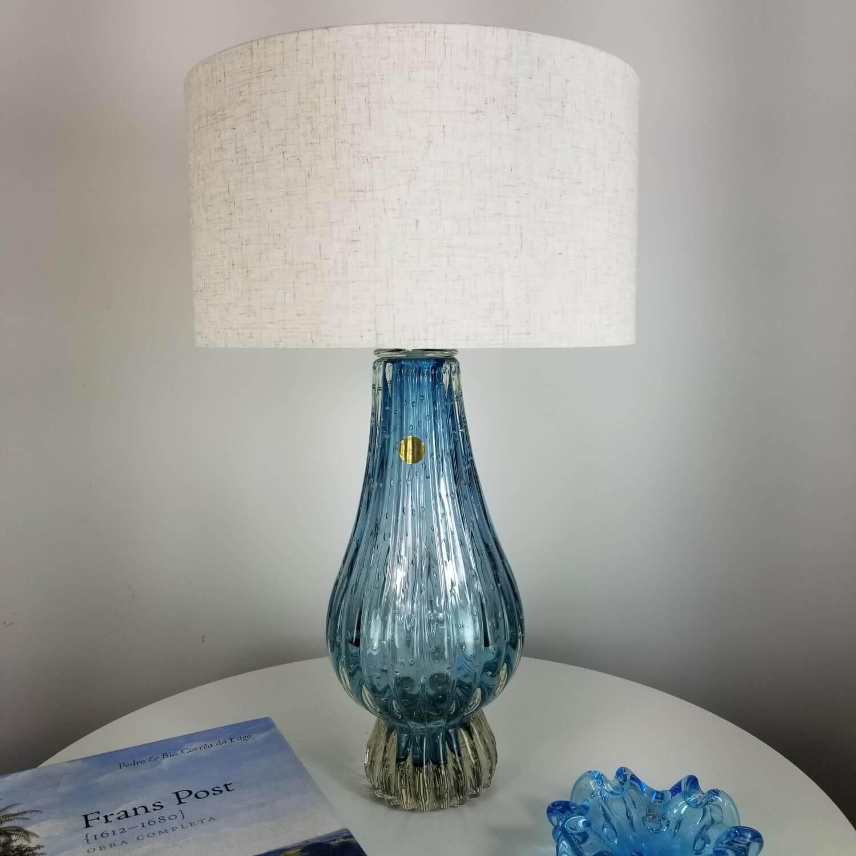Abajur de Sala de Murano Cristais Labone - Azul Aquamarine 50cm