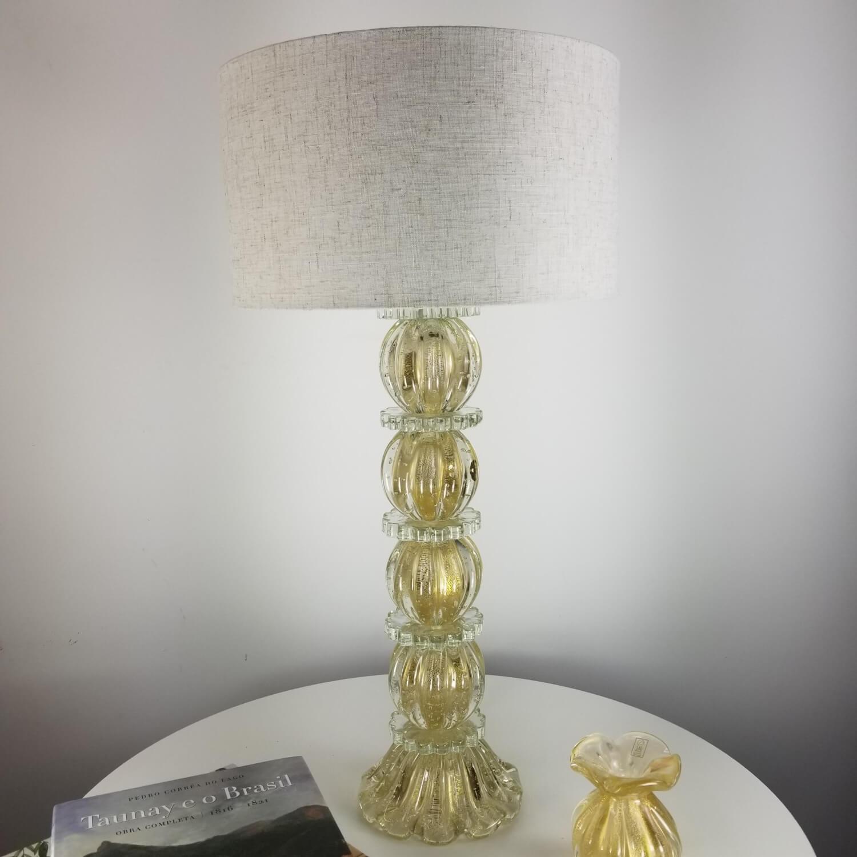Abajur de Murano Grande para Sala - Transparente com Ouro 24K