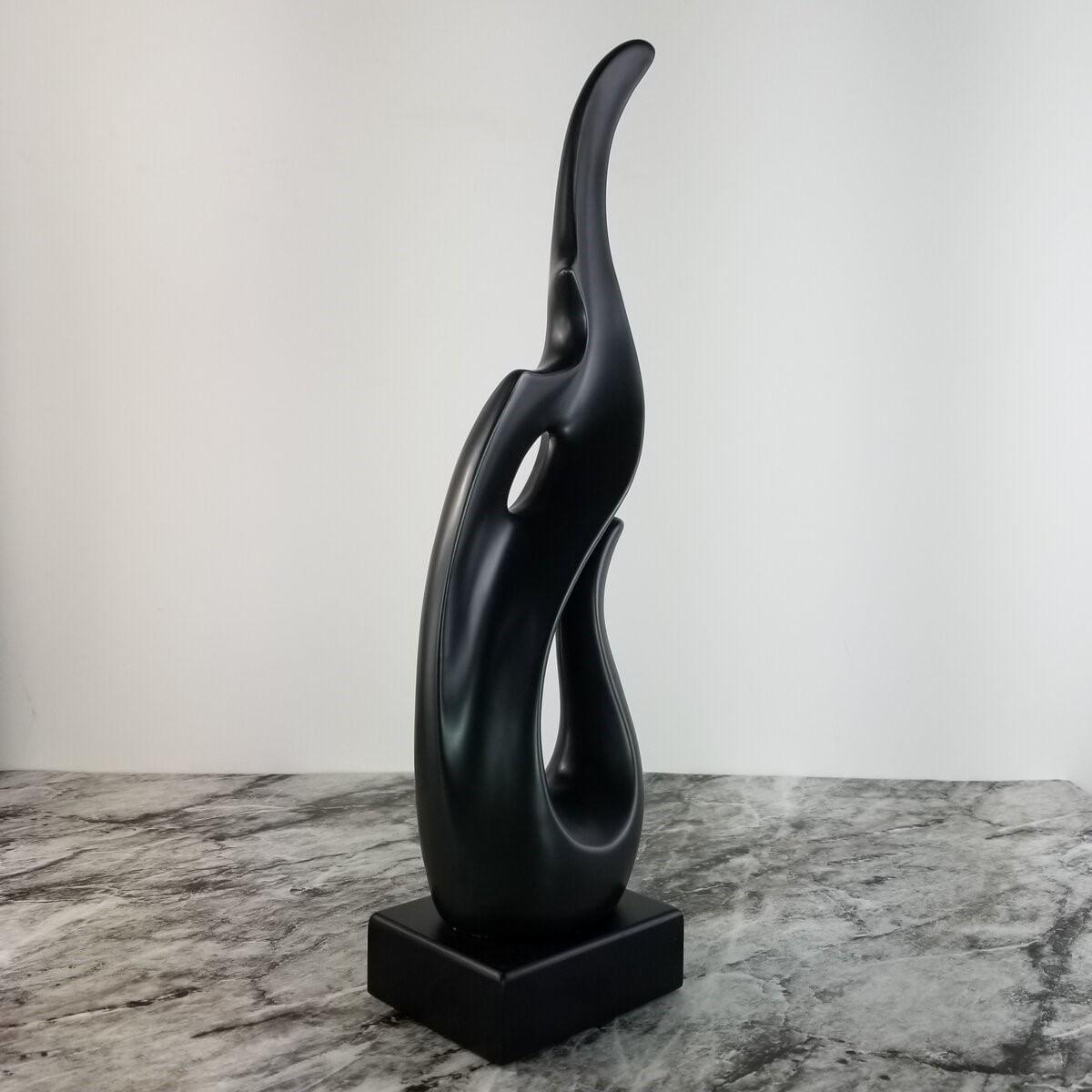 Escultura Abstrata Preta - Objeto Decorativo em Cerâmica