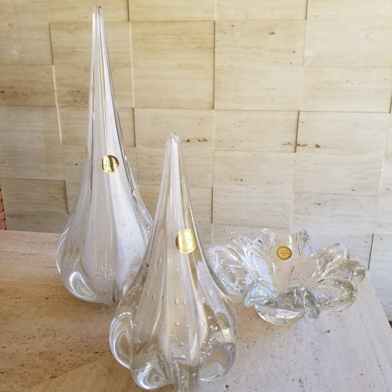 Kit Gotas de Murano - Cristal Branco com Ouro 24k (2 Peças)