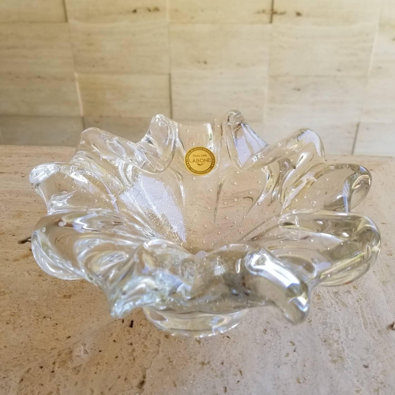 Centro de Mesa de Murano - Cinzeiro Transparente com Ouro 24K