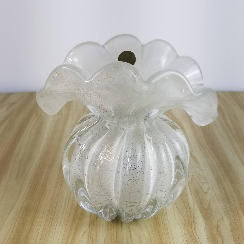 Trouxinha de Murano - Vaso de Cristal Branco com Ouro 24K