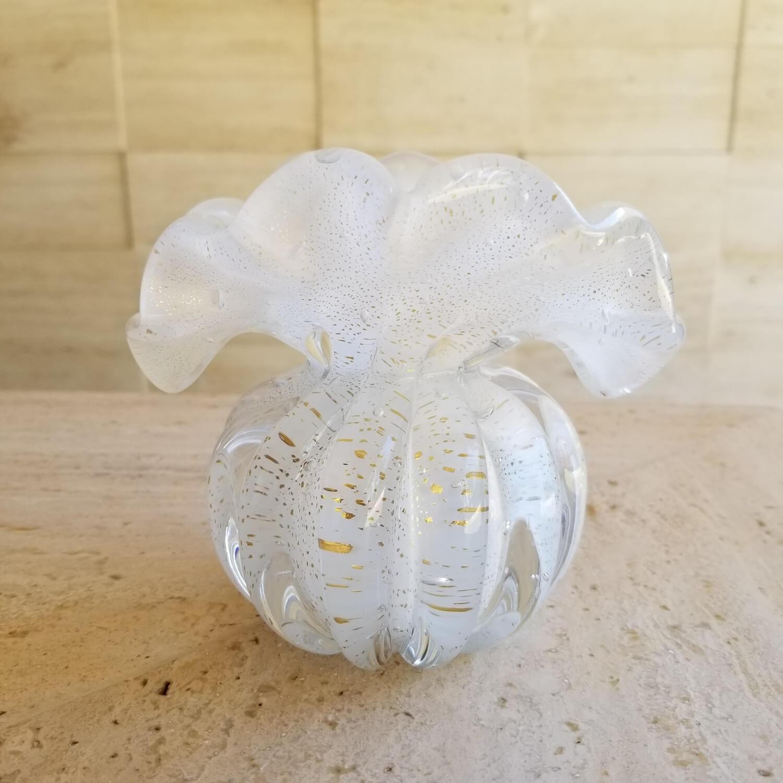 Mini Trouxinha de Murano - Vaso de Cristal Branco com Ouro 24K