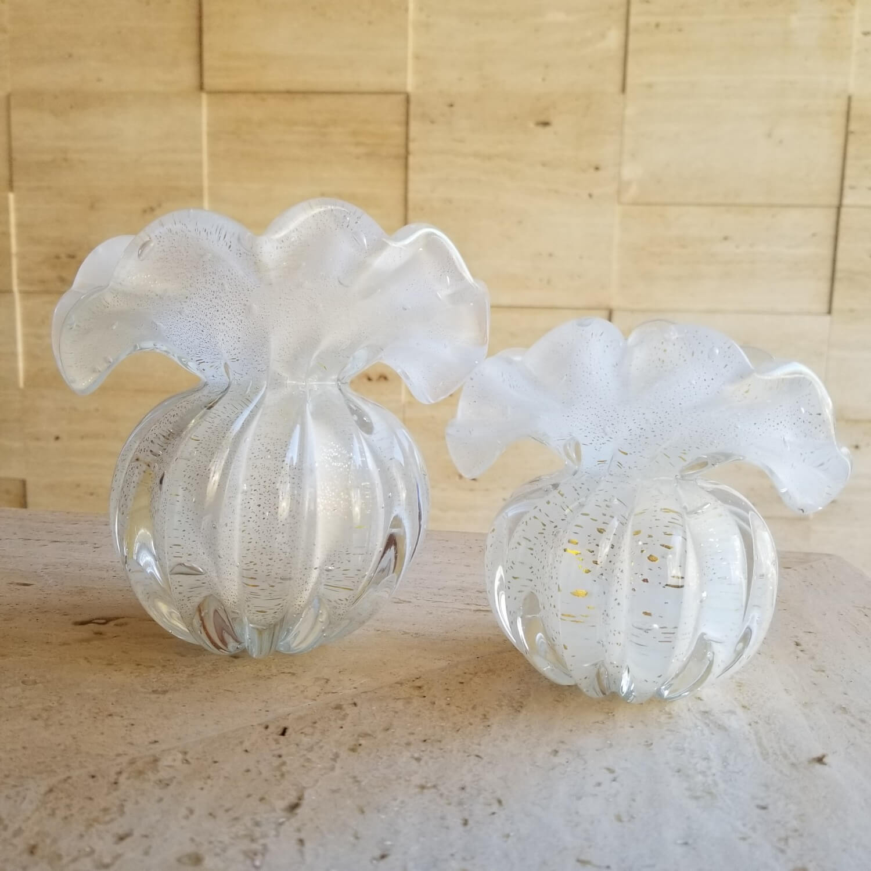 Kit Vasos de Murano - Trouxinhas Brancas com Ouro 24K (2 Peças)