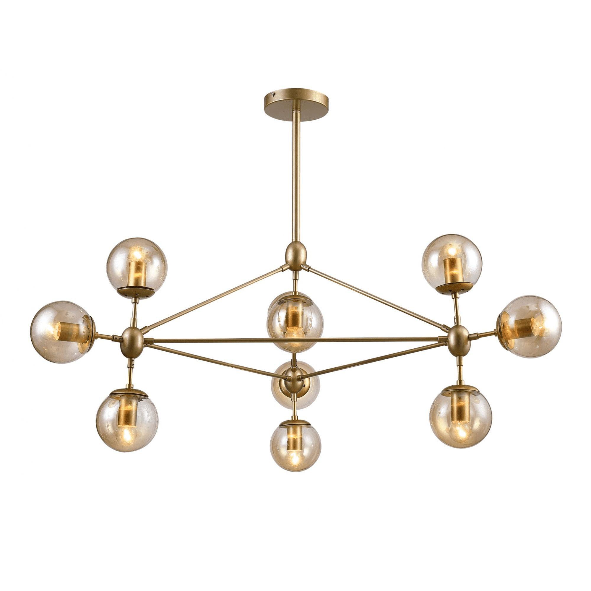 Pendente Moderno de Vidro e Metal - Bella Orbe Dourado 10 Lâmpadas