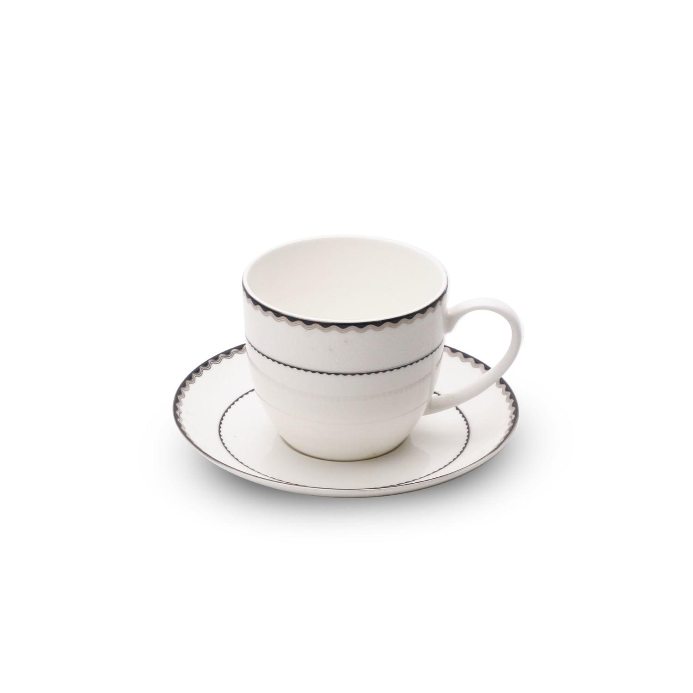 Jogo de Xícaras de Chá de Porcelana Wolff - Azul e Prata (6 Pessoas)