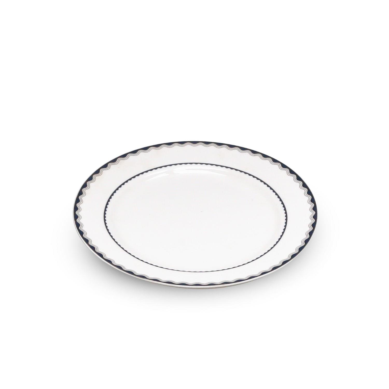 Jogo de Pratos de Sobremesa de Porcelana Wolff - Azul e Prata (6 Peças)