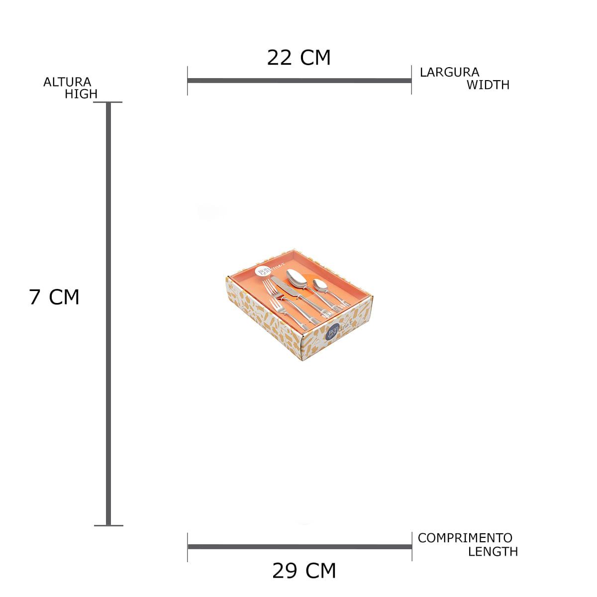 Faqueiro Inox 30 Peças Bon Gourmet Roma em Caixa de Presente