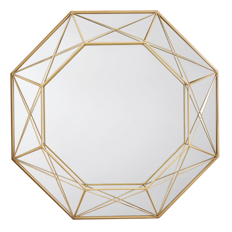 Espelho Decorativo Hexagonal com Moldura Aramada Dourada 56cm