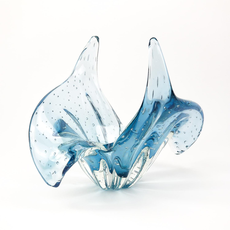 Centro de Mesa Abbraccio Vaso de Cristal Murano Azul Aquamarine