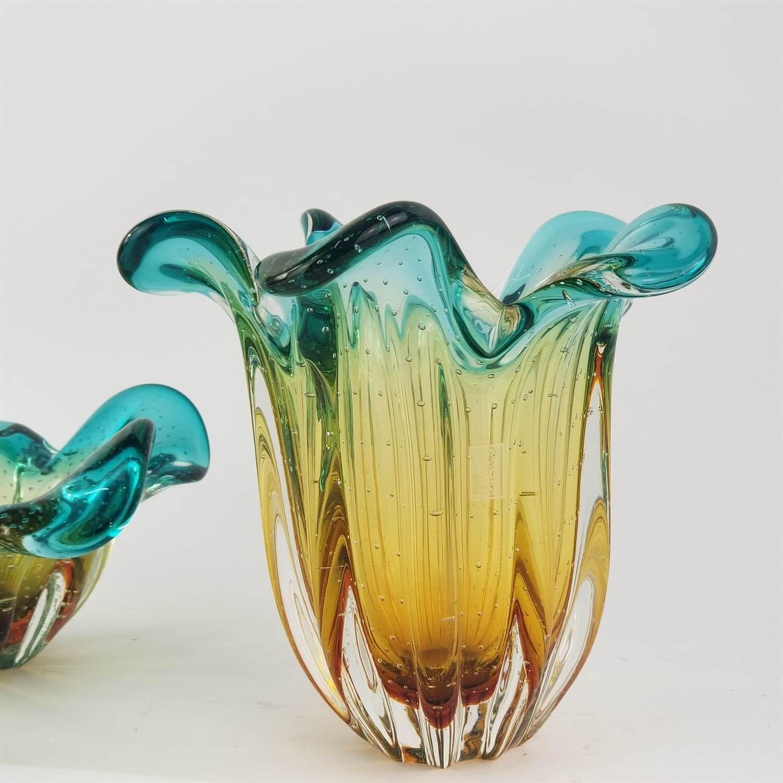 Vaso de Murano São Marcos - Cristal Esmeralda e Âmbar 22cm