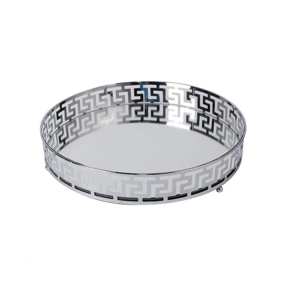 Bandeja Decorativa Espelhada de Metal Cor Prata Redonda 25cm