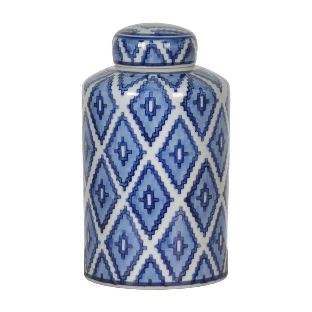 Potiche de Porcelana Pequeno - Pote Decorativo Branco e Azul