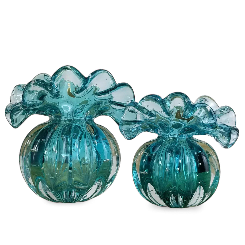 Kit Vasos de Murano - Trouxinhas de Cristal Esmeralda (2 Peças)