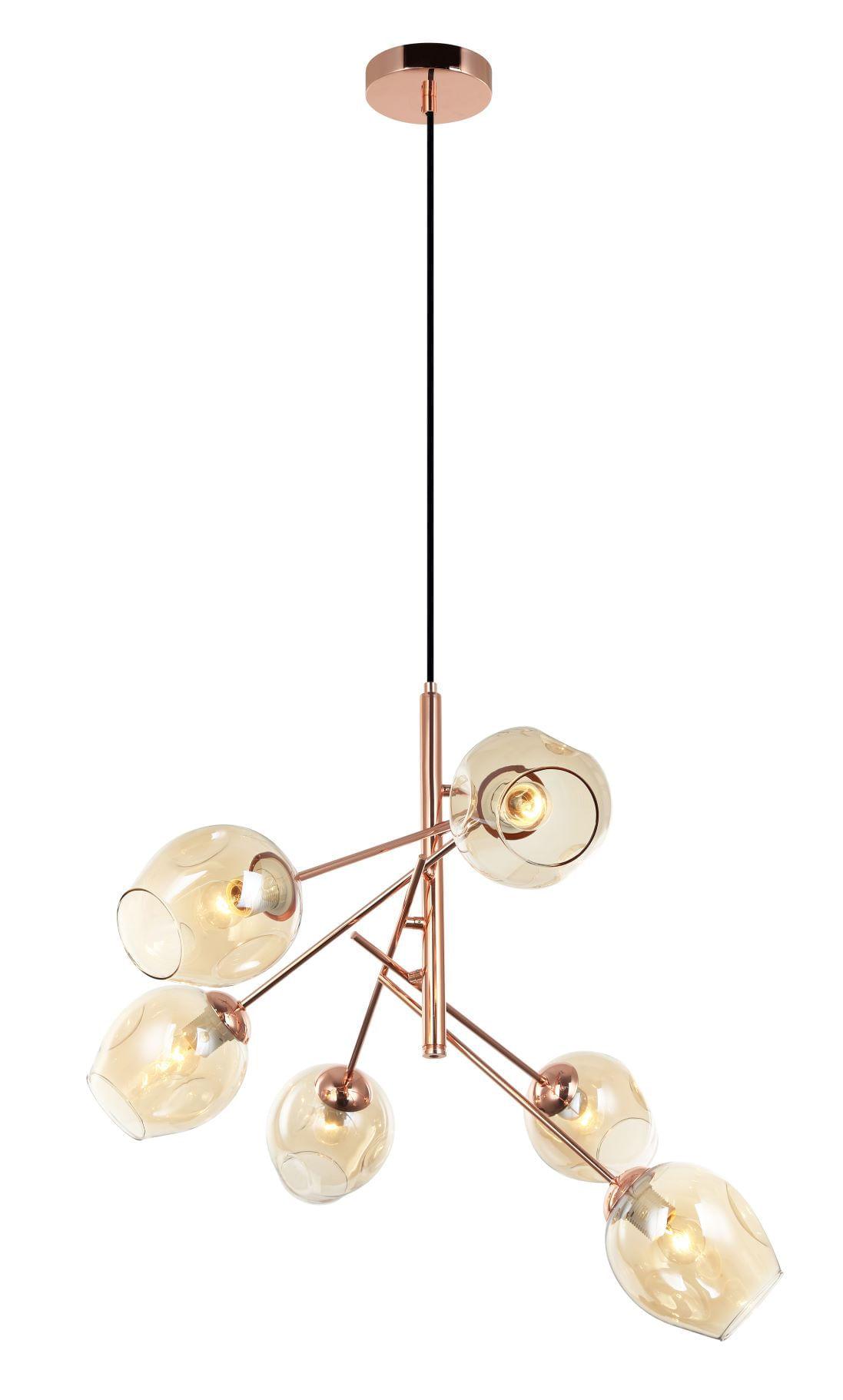 Lustre Moderno Rosé Gold para Sala de Jantar - Cutie Cobre