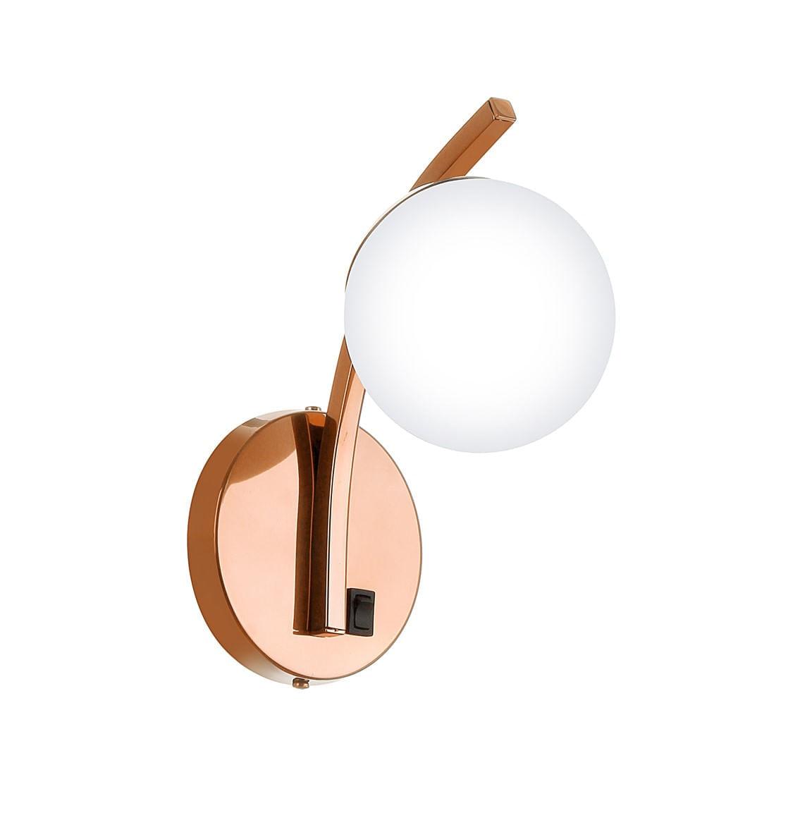 Arandela de Cabeceira Liga-Desliga - Cobre com Globo Branco
