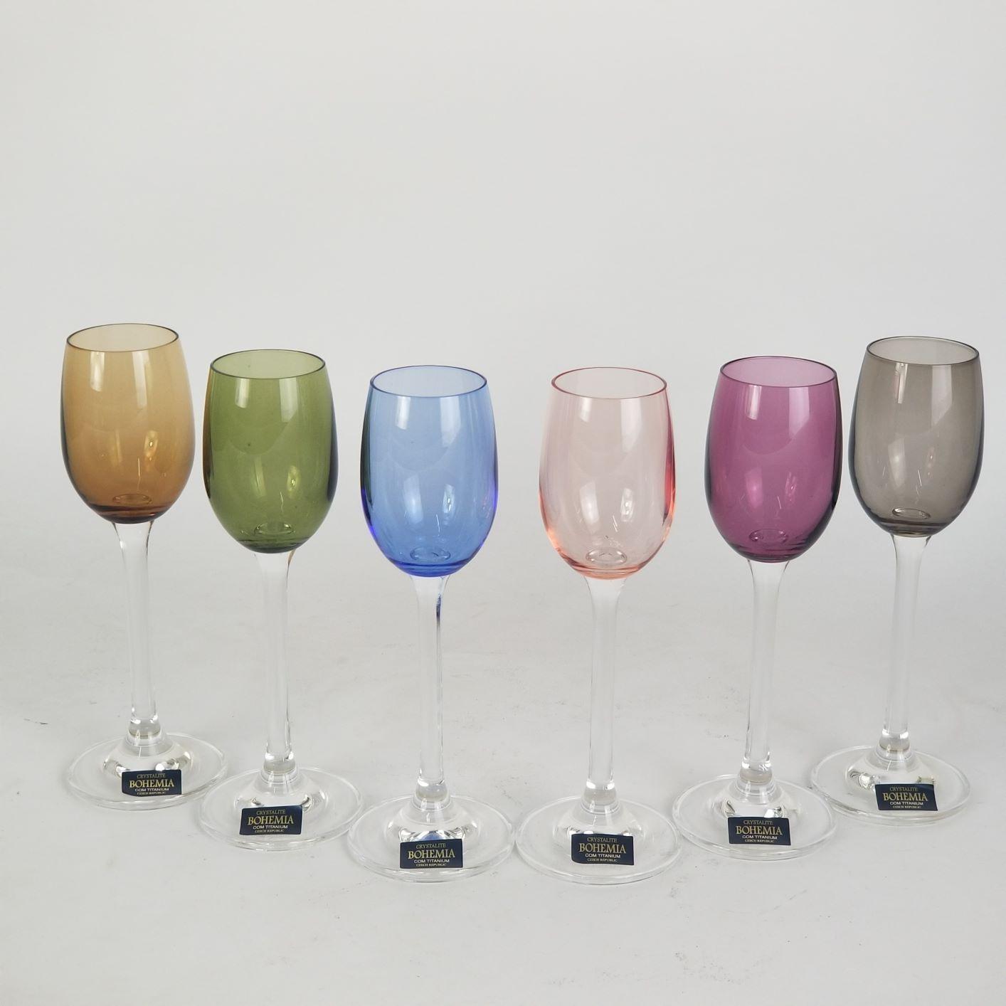 Jogo Taças Cristal Bohemia Coloridas De Licor 65ml (6 Peças)