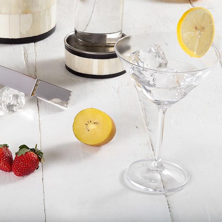 Jogo Taças de Martini Cristal Bohemia Com Titânio (6 Peças)