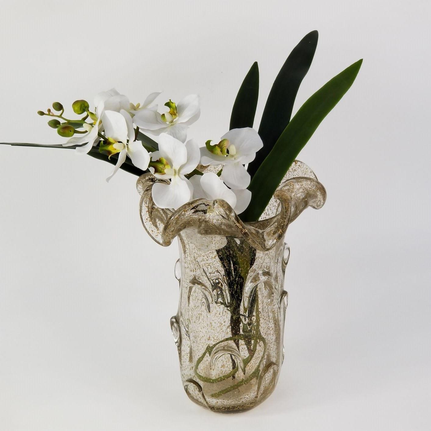 Vaso de Murano Grande para Flores Transparente com Dourado