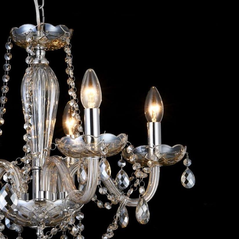 Lustre de Cristal 5 Braços - Maria Tereza Âmbar