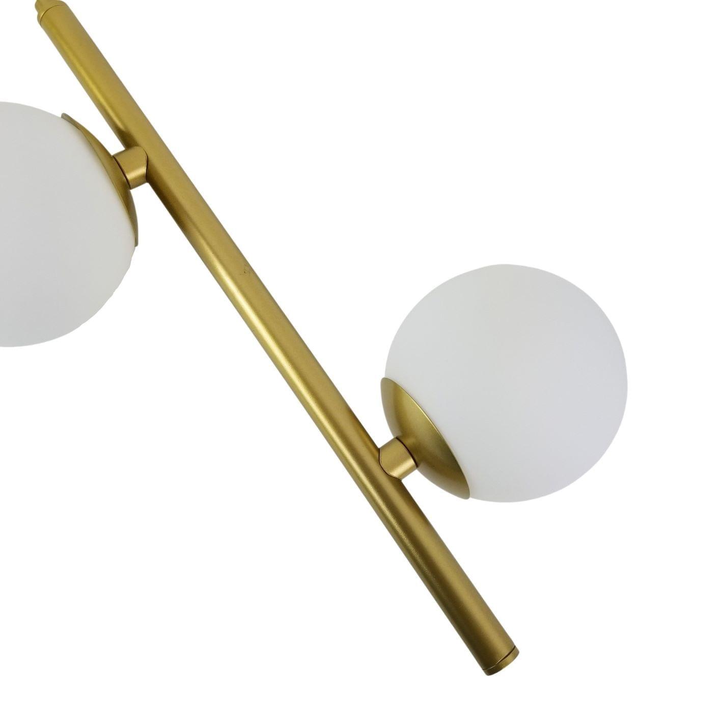 Pendente Galha 2 Bolinhas - Dourado Metalizado e Vidro Fosco