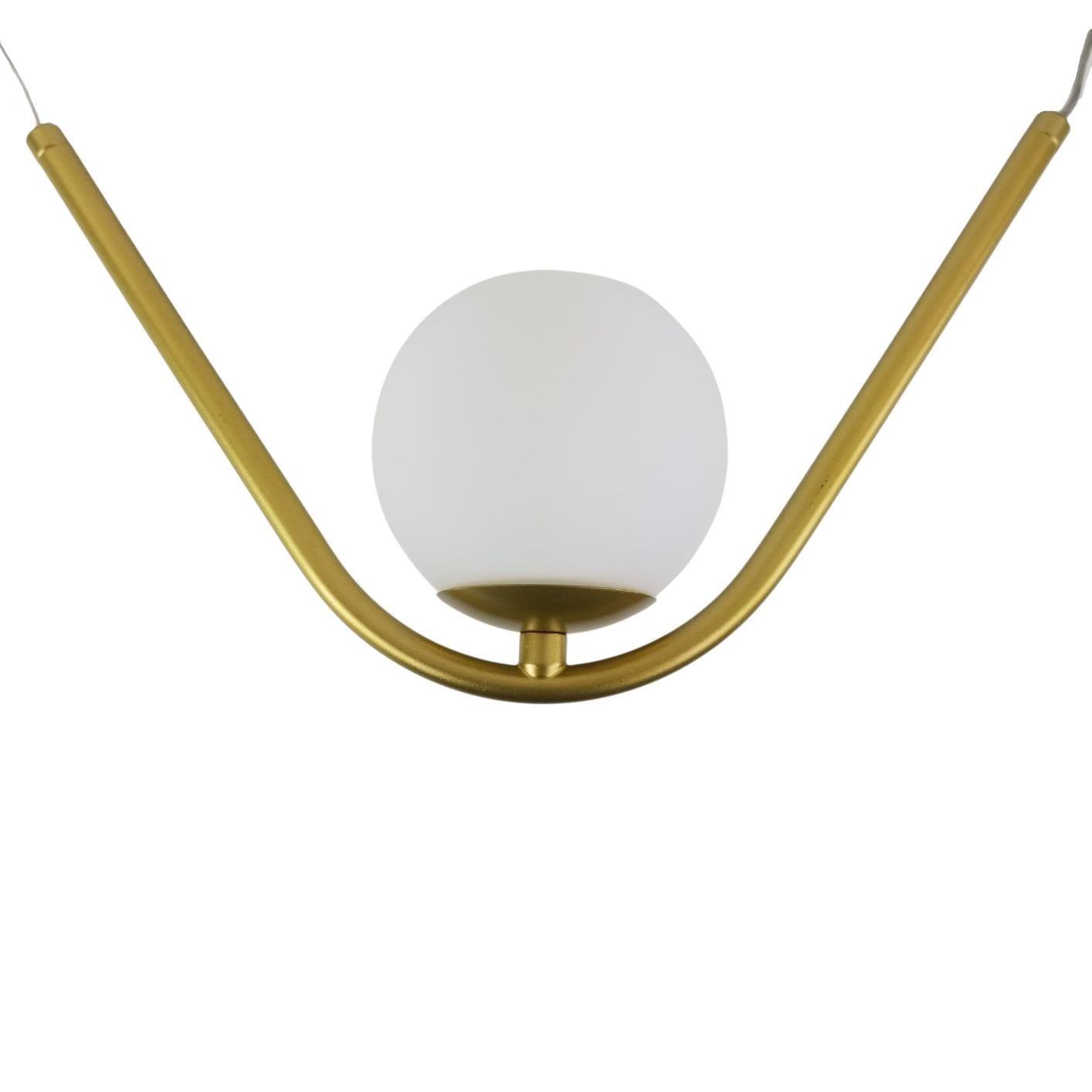 Pendente Balance 1 Bolinha - Dourado Metalizado Vidro Fosco