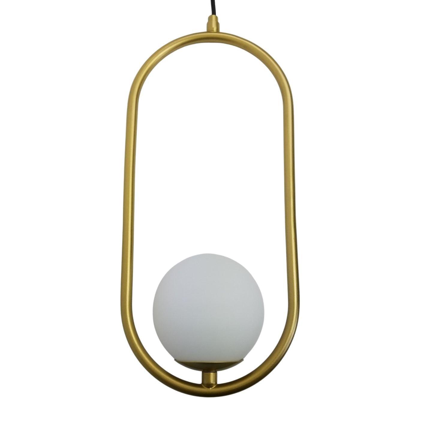 Pendente Moderno Aro Oval Dourado Com Globo Branco 12cm