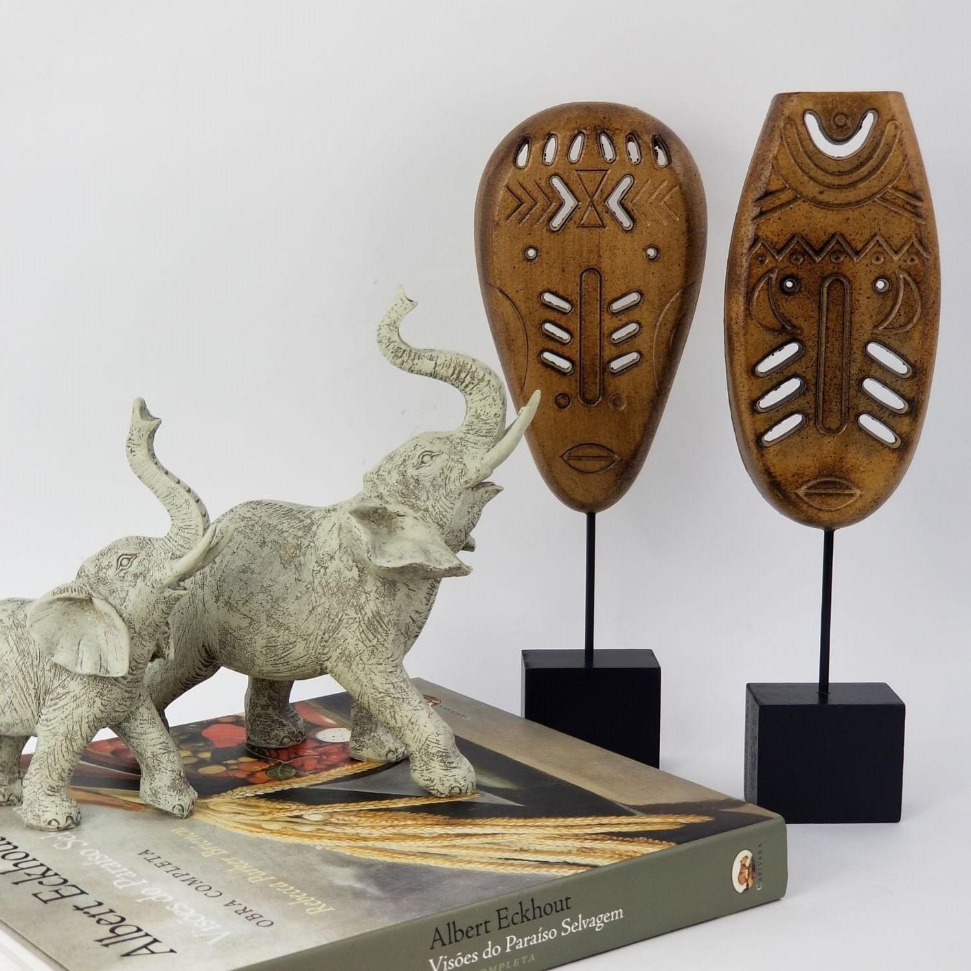Elefante Decorativo de Resina - Mãe / Grande Cor Cinza