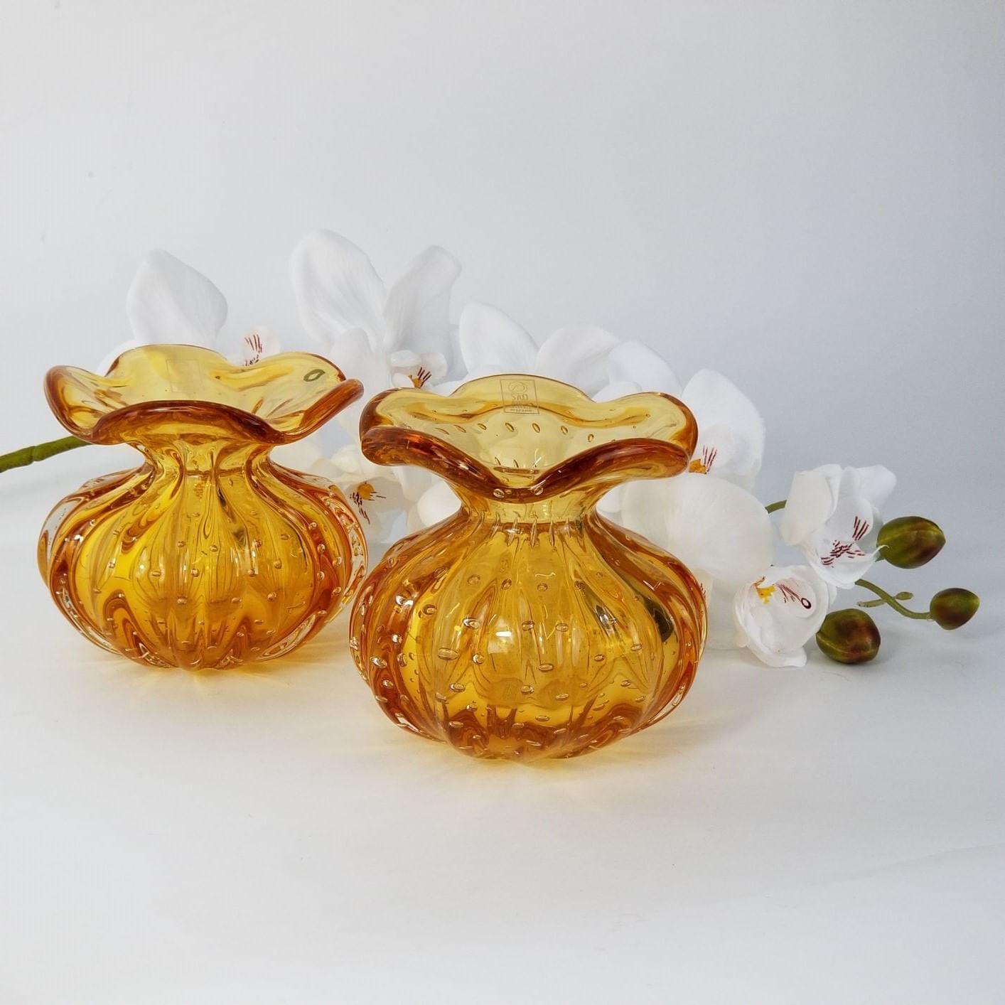 Vaso Trouxinha de Murano São Marcos - Vasinho Cristal Âmbar