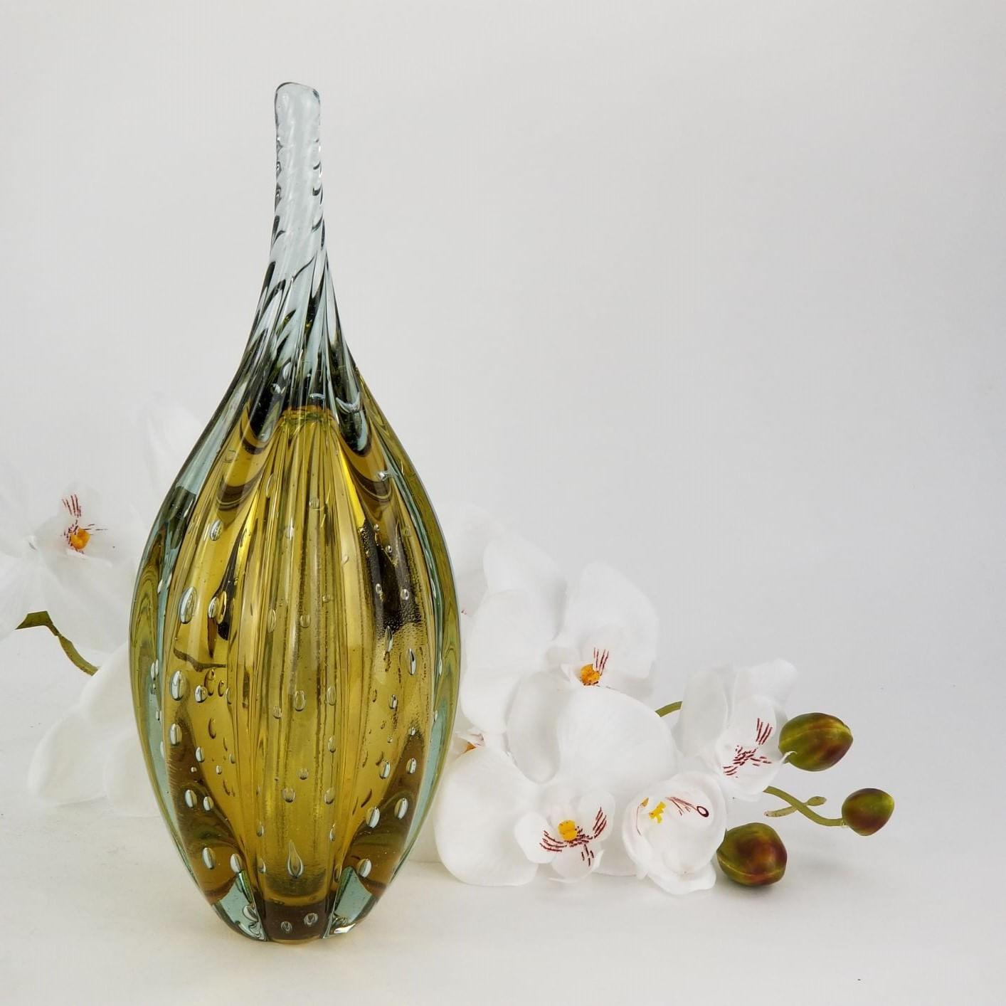 Gota de Vidro Torcido Tipo Murano JR Glass - Âmbar Grande