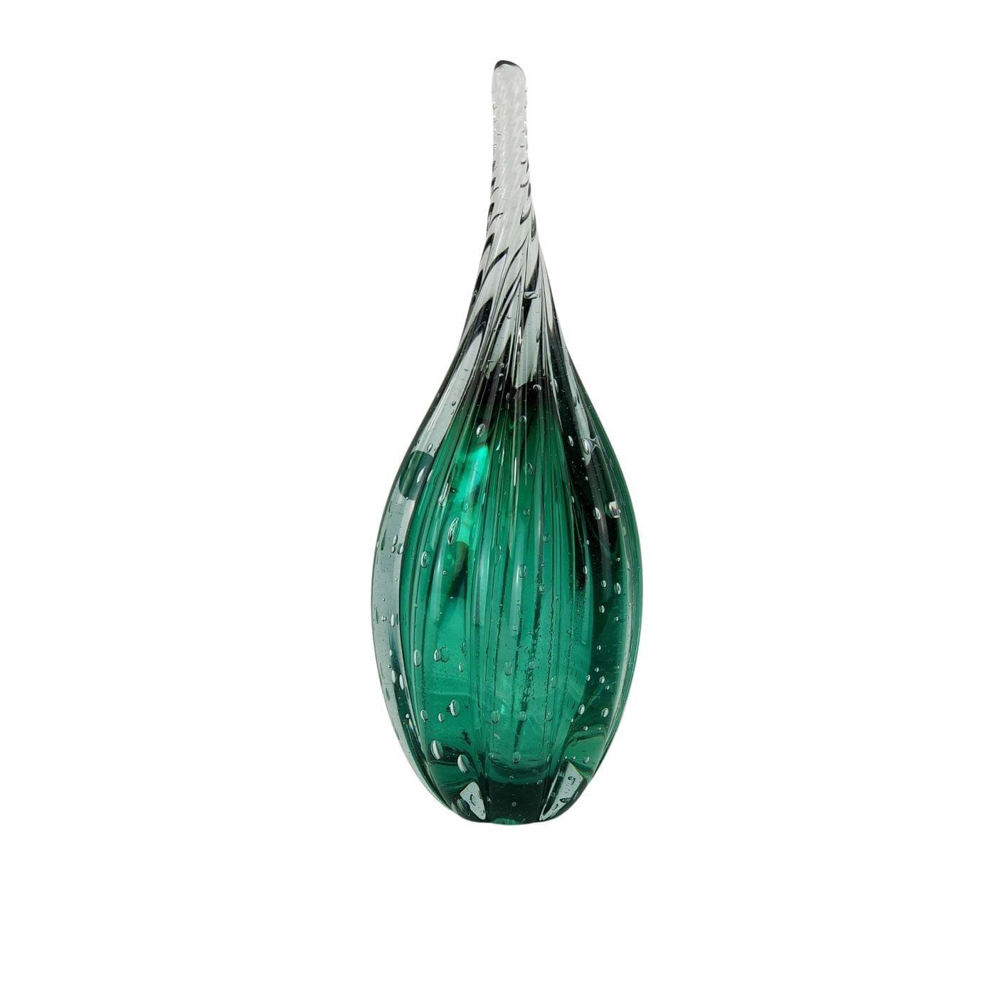 Gota de Vidro Torcido Tipo Murano - Verde Esmeralda Grande
