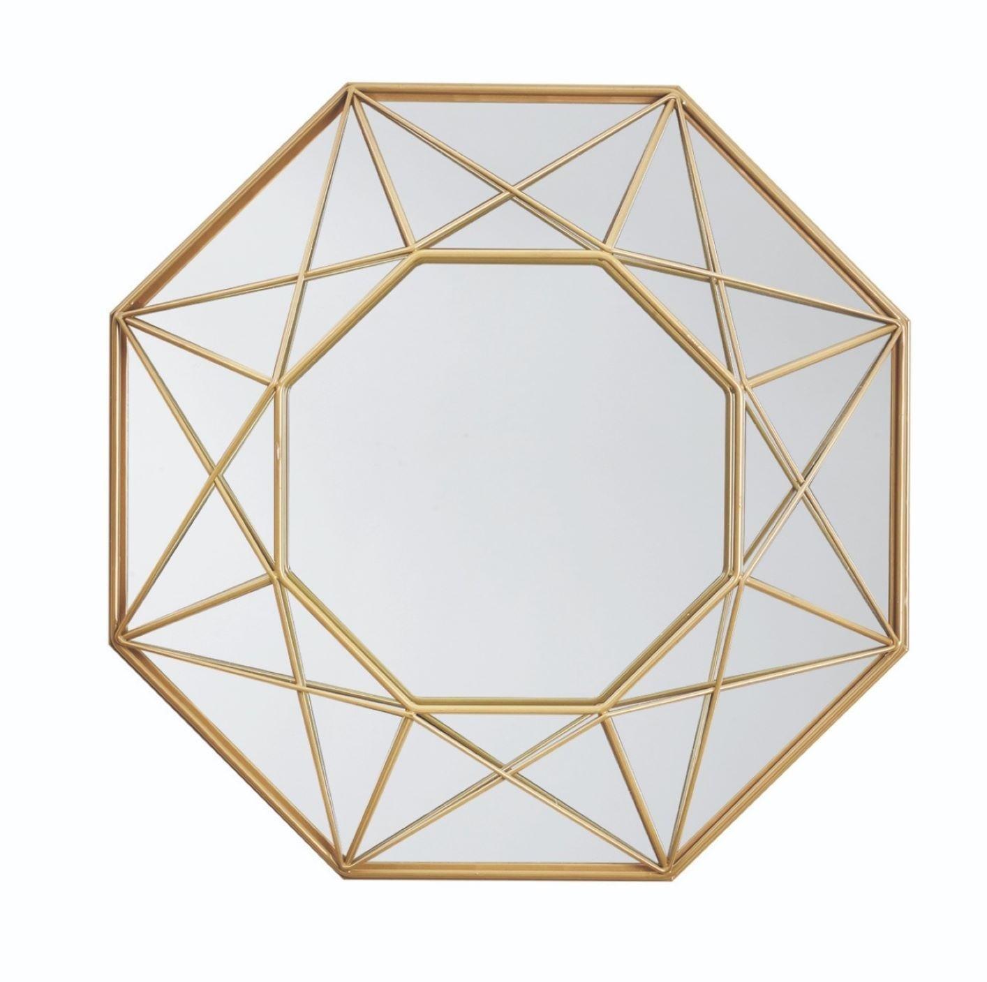 Espelho de Parede Hexagonal e Moldura de Metal Dourada 36cm