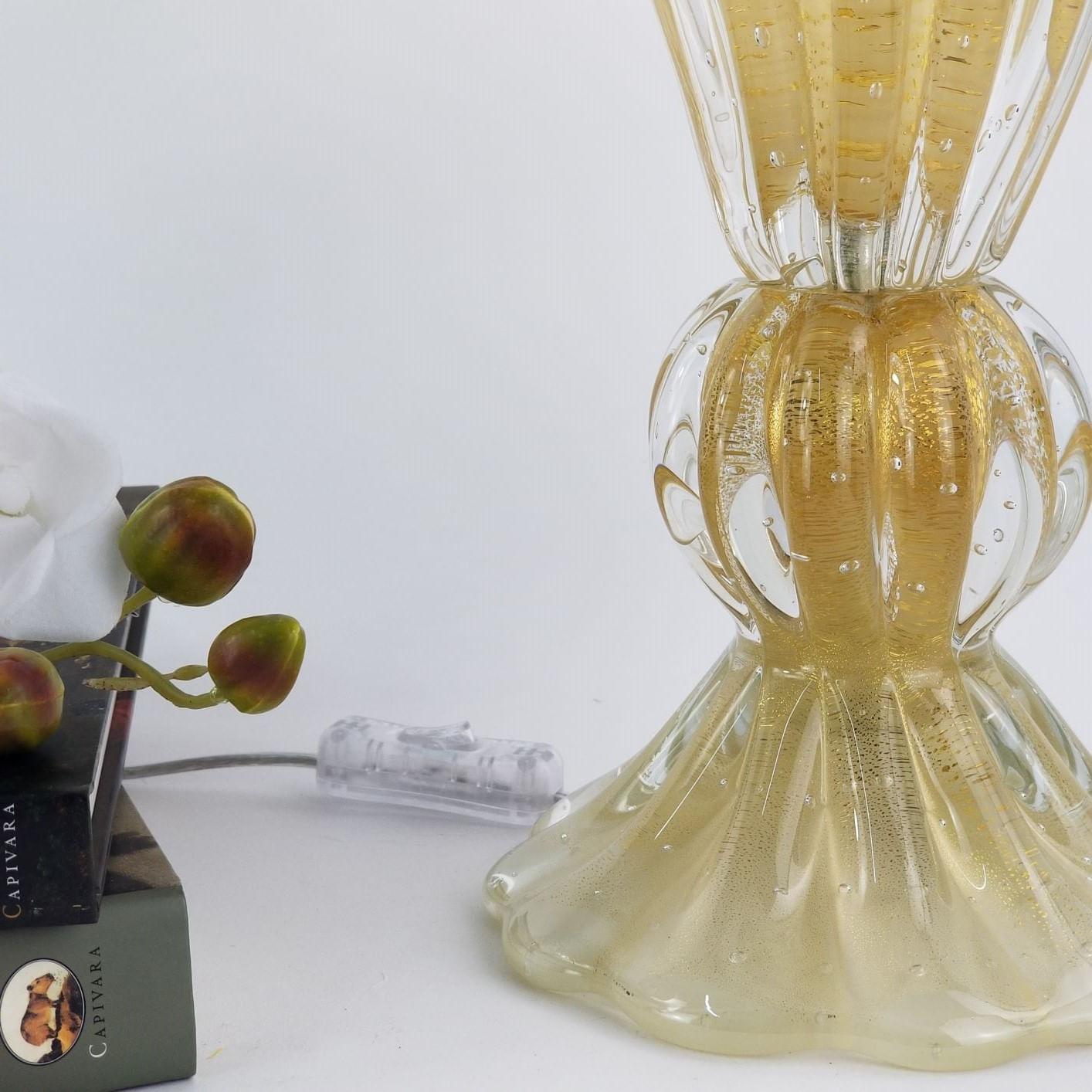 Abajur de Sala ou Quarto de Cristal Murano - Com Ouro 24K