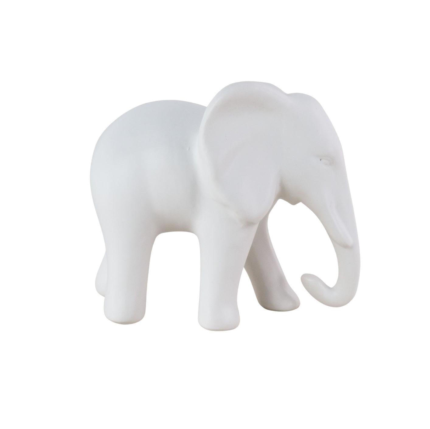 Elefante Decorativo de Cerâmica - Objeto Escultura Branca