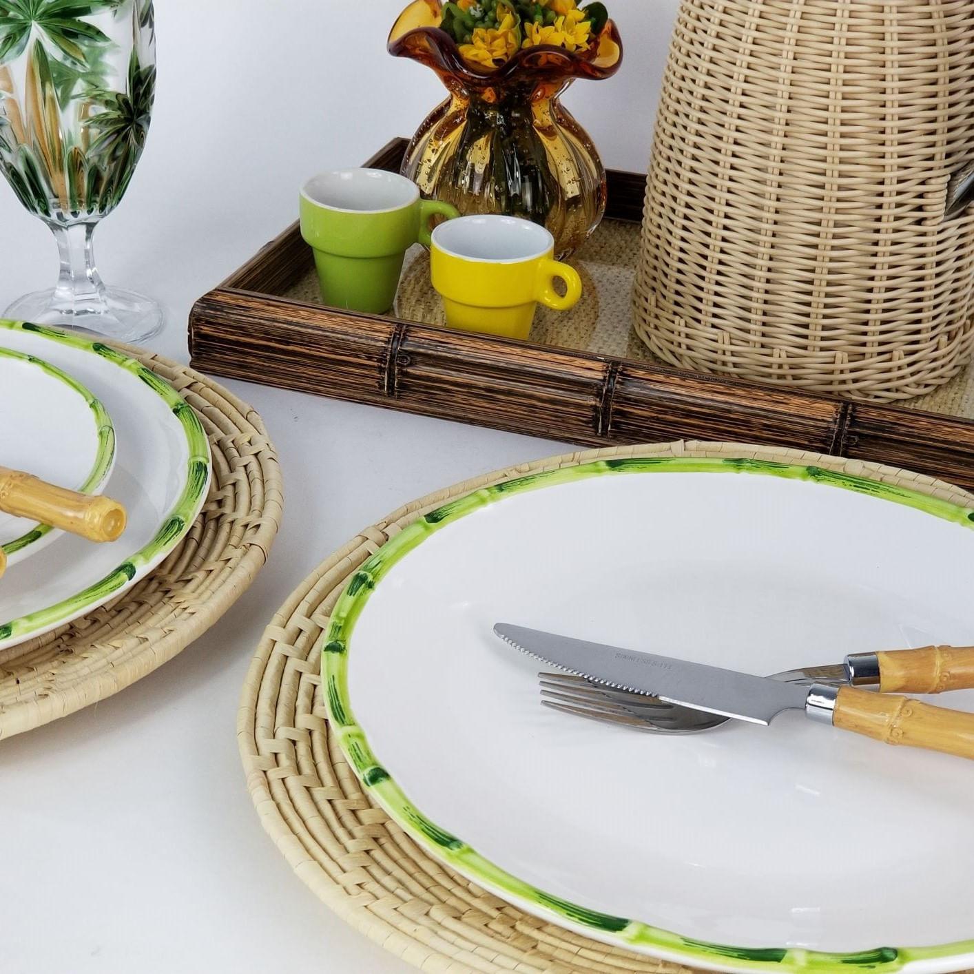 Jogo De Pratos Rasos - Scalla Bambu Verde (6 Peças)